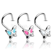 Butterfly 3mm Gemmed with 20GA .925 Sterling Silver Nose Screw