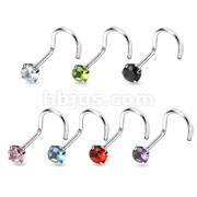Round 3mm Prong Set Gem with 20GA .925 Sterling Silver Nose Screw