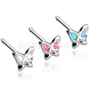 Epoxy Colored Winged Butterfly 3mm with 20GA .925 Sterling Silver Nose Stud