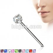 Bendable Fishtail Nose Ring w/ Assorted Prong Set CZ 20GA .925 Sterling Silver