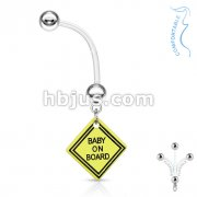 Bio Flex Surface Pregnancy Piercing Navel Ring with Baby on Board Dangle