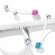 Double Jeweled Prong Set Round CZ Pregnancy Belly Rings Bioflex with 316L Surgical Steel Balls