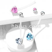 Double Jeweled Prong Set Heart CZ Pregnancy Belly Rings Bioflex with 316L Surgical Steel Balls
