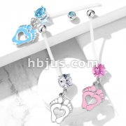 Double Jeweled Prong Set Round CZ with Heart Baby Feet Dangle Pregnancy Belly Rings Bioflex with 316L Surgical Steel Balls