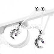 Crescent Moon Pregnancy Belly Ring Bioflex with 316L Surgical Steel Balls