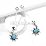Turquoise Sun Pregnancy Belly Rings Bioflex with 316L Surgical Steel Balls