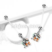 Colorful Elephant Pregnancy Belly Ring Bioflex with 316L Surgical Steel Balls