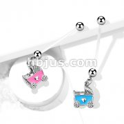 Baby Stroller Pregnancy Belly Ring Bioflex with 316L Surgical Steel Balls