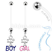 Baby Gender Dangle Bio Flex Pregnancy Navel Ring