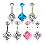 70 Pcs All 316L Surgical Steel Double Prong Set Square CZ Belly Button Navel Rings Bulk Pack (10 Pcs x 7 Colors)