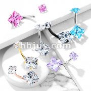 Square CZ Prong Set with Internal thread Top Double Jeweled 316L Surgical Steel Belly Button Navel Rings