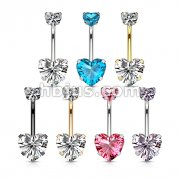 70 Pcs All 316L Surgical Steel Double Prong Set Heart CZ Belly Button Navel Rings Bulk Pack (10 Pcs x 7 Colors)