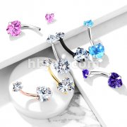 All 316L Surgical Steel Prong Set CZ Internal Thread Top Double Heart Belly Button Navel Rings