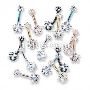 50 Pcs Prong Set Double Star CZ Internally Threaded 316L Surgical Steel Belly Button Navel Rings Bulk Pack (10 pcs x 5 Colors)