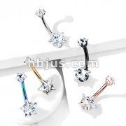 Prong Set Double Star CZ Internally Threaded All316L Surgical Steel Belly Button Navel Rings