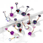 Round AB Zircon Prong Set Internally Threaded Top All 316L Surgical Steel Belly Button Rings