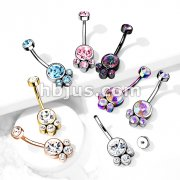 Round Cluster Crystal Stone Set with Zircon Set Internally Threaded Top 316L Surgical Steel Belly Rings