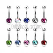 100 Pcs 316L Surgical Steel Single Jeweled Belly Button Navel Rings Bulk Pack ( 10 pcs x 10 Colors)