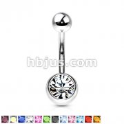 Press Fit Gem on 8mm Ball 316L Surgical Stainless Steel Navel Ring