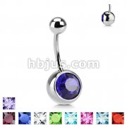 Navel Ring with 8mm Stone