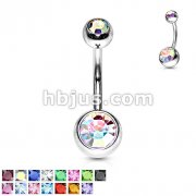 Double Jeweled 14g 316L Surgical Stainless Steel Navel Rings
