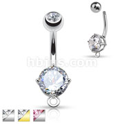 Round CZ Prong Set 316L Surgical Steel Belly Rings with O-Ring for Add on Dangles