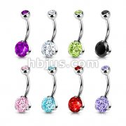 316L Surgical Steel Navel Ring with Prong Set CZ 80pc Pack (10pcs x 8 colors)