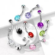 316L Surgical Steel Navel Ring with Prong Set Gem