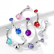 316L Surgical Steel Internally Threaded Prong Set CZ Navel Ring