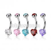 Heart CZ Prong Set 100% Surgical Steel Belly Ring 50 pcs Bulk Pack