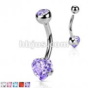 316L Surgical Steel Prong Set Heart CZ Navel Ring