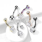 Prong Set 8mm Heart CZ All 316L Surgical Steel Navel Ring