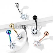 Prong Set Star CZ All316L Surgical Steel Belly Button Navel Rings