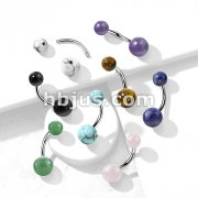 Natural Stone Balls with Threaded Steel Inserts316L Surgical Steel Belly Button Ring