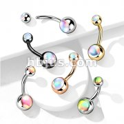 Double Iridescent Stone 316L Surgical Steel Belly Button Ring
