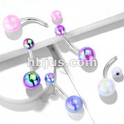 Metallic AB Coating Balls Over 316L Surgical Steel Belly Button Navel Rings