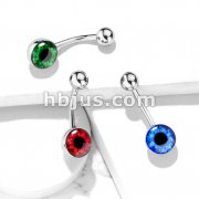 Round Eyeball Inlaid 316L Surgical Steel Belly Button Navel Rings