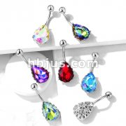 AB Effect Tear Drop Gem with Heart Filigree Encasing 316L Surgical Steel Belly Button Navel Rings