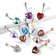 AB Effect Heart Gem with Heart Filigree Encasing 316L Surgical Steel Belly Button Navel Rings