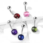 Prong Set Zircon Cabochon Stone 316L Surgical Steel Belly Button Navel Rings