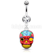 Pink Sugar Skull 316L Surgical Steel Dangle Navel Ring