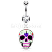 Purple Sugar Skull 316L Surgical Steel Dangle Navel Ring