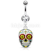 Green Sugar Skull 316L Surgical Steel Dangle Navel Ring