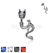 Rhodium Plated Dragon with Gemmed Eyes Navel Ring