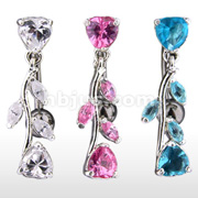 Vine CZ Top Drop Heart Navel Ring