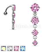 4-Vertical CZ Navel Ring w/ Top-Drop