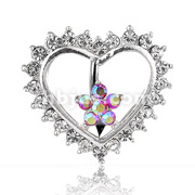 CZ Heart/Flower Navel Ring w/ Top-Dw