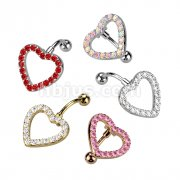 Heart Gem Paved with 316L Surgical Steel Top Down Navel