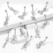 Zodiac with Clear Gems Dangle Navel Ring