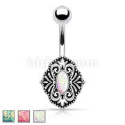 Imitation Opal Glitter Centered Vintage Style 316L Surgical Steel Belly Button Rings